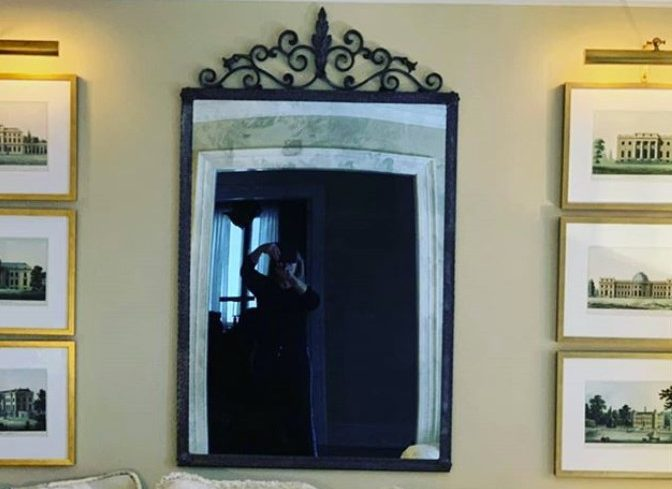 wrought iron mirror frame